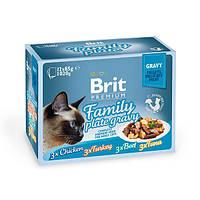 Влажный корм Brit Premium Набор паучей для кошек Family Plate Gravy Кусочки в соусе 12×85 гр