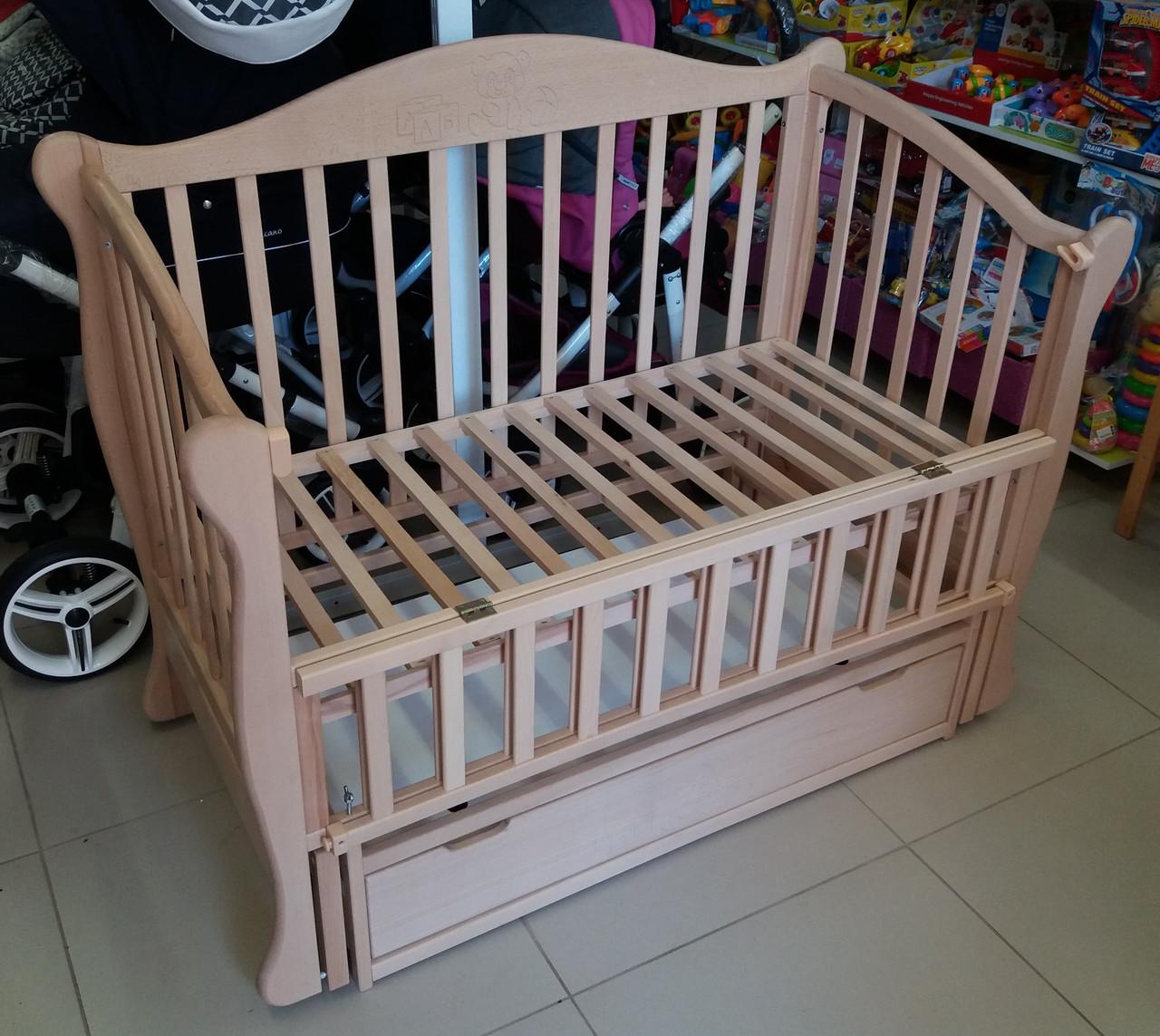 Кроватка детская из натурального бука Тедди цвет натуральный маятниковый механизм