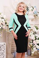 Батальное женское платье СЕКРЕТ черный+мята ТМ Lenida 52-62 размеры