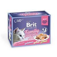 Влажный корм Brit Premium Набор паучей для кошек Family Plate Jelly Кусочки в желе 12×85 гр