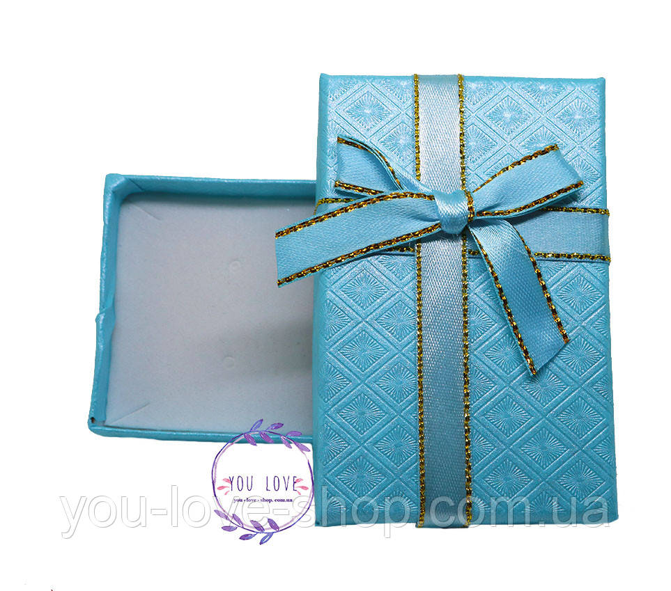 Коробочка подарочная для бижутерии Классическая Серая  Бирюзовая