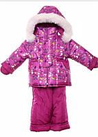 Детский зимний костюм на овчине-подстежке (от 6 до 18 месяцев) Малиновый снеговик