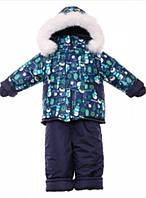 Детский зимний костюм на овчине-подстежке (от 6 до 18 месяцев) Синие снеговики