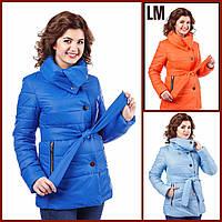 """Женская демисезонная куртка """"Лия"""" 44-54 батал осенняя весенняя короткая теплая на молнии с капюшоном"""