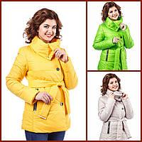 """Женская красивая куртка """"Лия1"""" 44-54 батал осенняя весенняя короткая теплая демисезонная на молнии с капюшоном"""