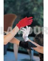 Короткие перчатки из атласа, длина 24 см красные