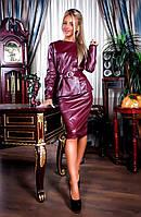 Элегантный женский костюм с юбкой из эко-кожи 290720