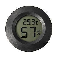 Термометр-гигрометр цифровой круглый черный WSD 12-2B, фото 1
