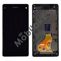 Модуль Sony D5503, D5502 Xperia Z1 Compact: дисплей + тачскрин (сенсор), с рамкой, цвет черный