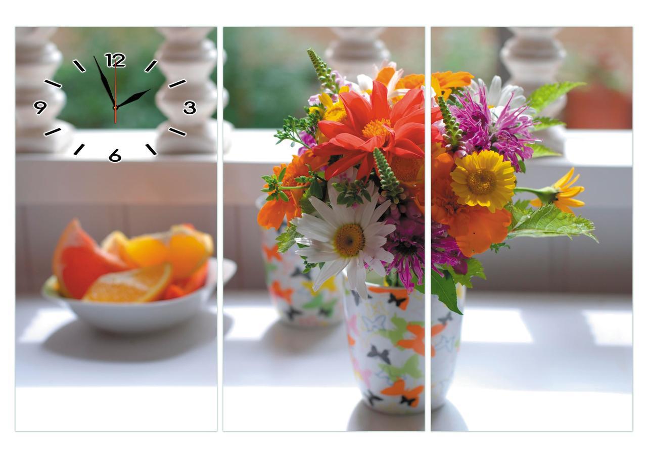 """Часы настенные модульные """"Букет цветов в вазе"""" триптих большие-112х75см"""