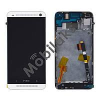 Дисплей HTC One M7 801 с тачскрином в сборе (с держателем сим-карты), цвет белый, в рамке,