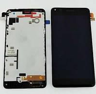 Дисплей Nokia 640 Lumia с тачскрином в сборе, цвет черный, в рамке, копия высокого качества