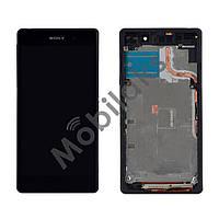 Дисплей Sony Xperia Z2 D6502 L50w, D6503 с тачскрином и рамкой в сборе, цвет черный, копия высокого