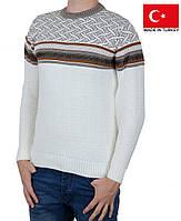 Белый мужской свитер с орнаментом.Качественные мужские кофты на зиму.