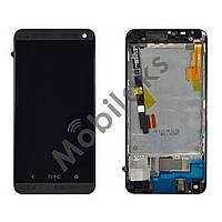 Дисплей HTC One M7 801 с тачскрином, рамкой и держателем сим карты, черный, копия высокого качества