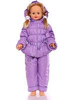 """Детский демисезонный костюм куртка и полукомбинезон """"Ноль-резинка"""" для девочки (фиолетовый)"""