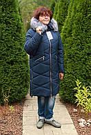 Зимняя женская куртка с мехом большие размеры 52 по 60