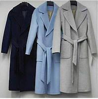 Женское длинное пальто кашемир,ГОЛУБОЙ,БОРДОВЫЙ,БЕЖЕВЫЙ