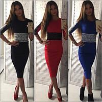 Женское платье-миди с кружевом (4 цвета) электрик