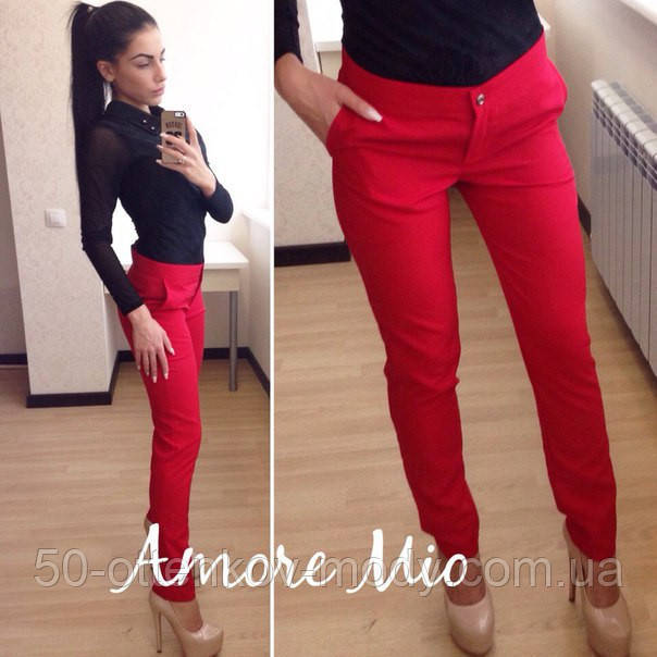 Женские красные брюки с завышенной посадкой и карманами