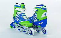 Роликовые коньки детские раздвижные Zelart Z-094BG размер 30-33 сине-салатные