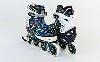 Роликовые коньки детские раздвижные Zelart Z-9002BY размер 35-38 сине-желтые