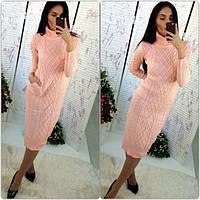 Женское теплое вязаное платье с карманами Турция