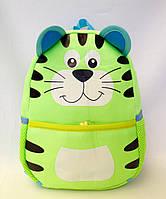 """Рюкзак игрушка детский мягкий"""" Котик"""" из неопрена для школы,детсада,в поездку зелёного цвета"""