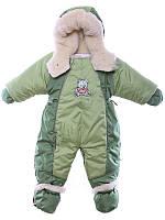 Детский комбинезон трансформер для новорожденных зимний (зеленый с хаки)