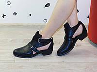 Туфли (ботинки) летние женские на низком ходу черные
