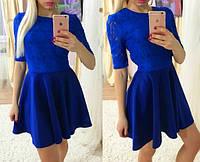 Женское модное синее платье с кружевом