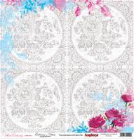 Бумага Цветочная вышивка, Схема для вышивки, 30х30, фото 1