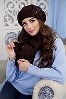 Зимний женский комплект «Лакки» (берет и шарф) Коричневый