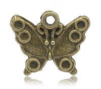 Металлическая подвеска Бабочка, 17х14 мм, фото 1