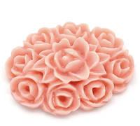 Камея розовые цветы, 18 мм
