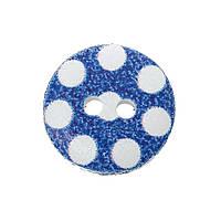 Пуговица деревянная Синяя в горошек, 15 мм