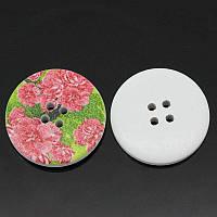 B30348 Пуговица деревянная с цветком, 30 мм, 4 отверстия, фото 1