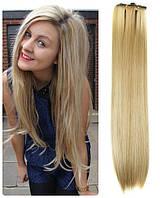 Волосы трессы термо на заколках набор из 7 прядей 57 см №27\613 золотистый блонд