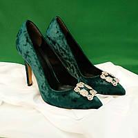 Праздничные туфли на каблуке бархат (TUR02)Стильные черные туфли на высоком каблуке   Особенности модели:  Э