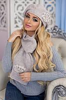 Зимний женский комплект «Лакки» (берет и шарф) Светлый кофе