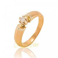 Золотое кольцо с фианитами помолвочное КП1390