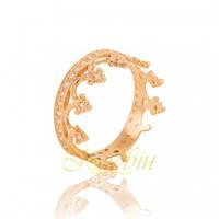 """Женское золотое кольцо """"корона"""" с фианитами КП1603"""