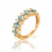 Золотое кольцо с голубыми фианитами. КП1