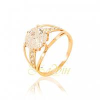 Золотое кольцо с большим  фианитом. КП19