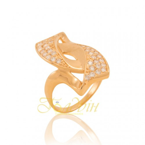 Золотое кольцо с фианитами. КП1239