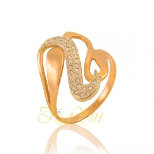 Золотое кольцо с фианитами. КП1549