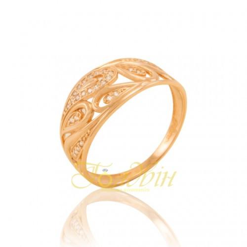 Золотое кольцо с фианитами. КП1689