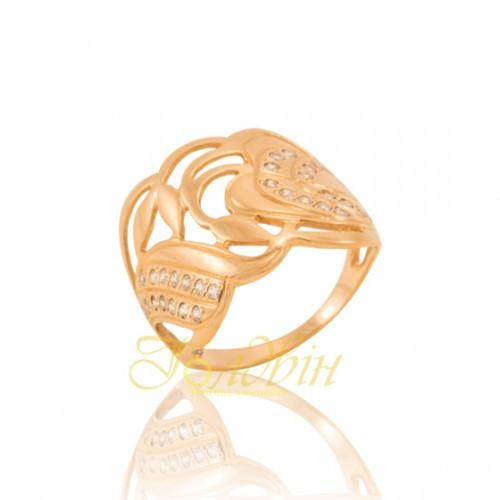 Золотое кольцо с фианитами. КП1495