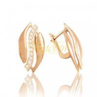 Золотые серьги с фианитами. СП160