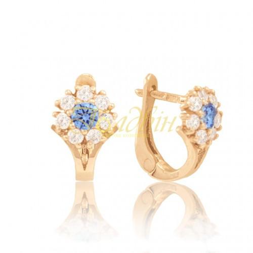 Золоті дитячі сережки з фіанітами, блакитні. СП443